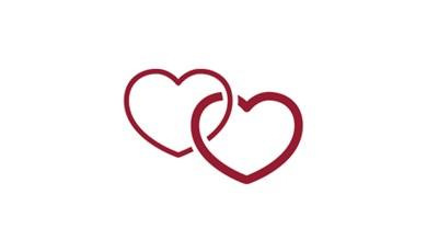 Symbol för ungdomsmottagning i form av två hjärtan