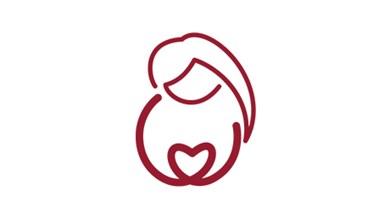 Symbol för barnmorskemottagning i form av en kvinna med ett hjärta